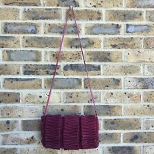 TOPSHOP Crossbody Handbag Burgundy Suede Evening Bag Frilly