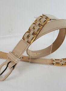 Vintage 80s Genuine Leather Morris Moskowitz cream belt gold metal buckle Sz L