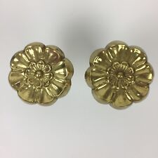 """Brass Floral Style Curtain Tie Back Extends 3 1/2 - 5 1/2"""" Made In India"""