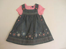 Denim Casual Floral Dresses (0-24 Months) for Girls