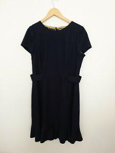 Boden Size 16 L ( Long ) Navy Blue Wool Blend Smart Formal Dress - Womens
