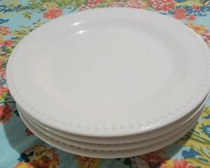 "POTTERY BARN ""EMMA"" 4 11"" Dinner Plates Beaded Rim Cream Nice Condition"