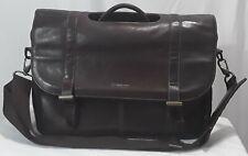 Samsonite Brown Genuine Leather Flapover Laptop Briefcase Cross Body