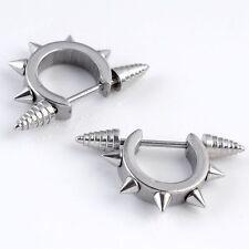 2x 18G Screw Spike Rivet Hoop Nipple Shield Ring Bar Barbell Steel Earrings Stud