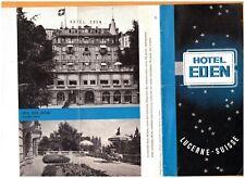 """LUCERNE (SUISSE) Tract Dépliant HOTEL EDEN """"Famille MUTH Propriétaire"""" vers 1960"""