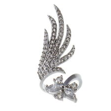 Sterling Silver Nail Ring with CZ Crystals - Size Small