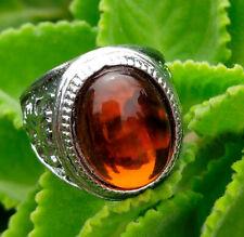 Natural Hessnoite Gomed Garnet Clear Quartz Vintange Man's Ring Gems Size 12 AA