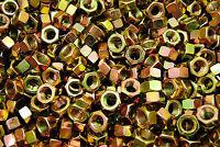 (200) 7/16-20 Grade 8 Hex Finish Nuts - Yellow Zinc Plated - Fine Thread