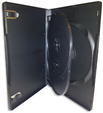 TRIPLE-DISC =BLACK= 14mm DVD Box with Hinged Flap 10-Pak
