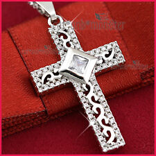 9K WHITE GOLD GF ANTIQUE CROSS CRUCIFIX CRYSTAL MENS LADY SOLID PENDANT NECKLACE