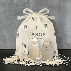 East of India Handmade Wooden Jesus Mary & Joseph Bag Set Christmas Nativity