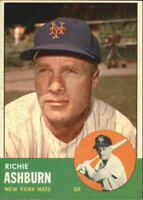 1963 Topps New York Mets Baseball Card #135 Richie Ashburn - EX