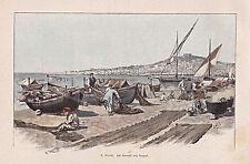Neapel, Napoli - Fischer - Fischerboote am Strand - Farbholzstich um 1895