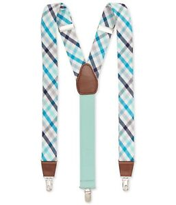 Club Room Mens Plaid Medium Suspenders, Green, One Size