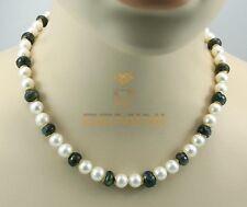 Perlenkette - weiße Süßwasser-Perlen mit Labradorit Halskette für Damen 46,5 cm