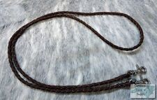 DARK OIL Braided Leather Western Roping Rein w/ Snaps! NEW HORSE TACK!!