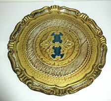 Vtg Florentia Round Plate Tray Florentine Hollywood Regency Toleware Gold Blue