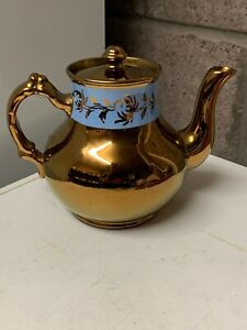 Gibsons England Blue Band Copper Luster Teapot Numbered And Excellent Condition