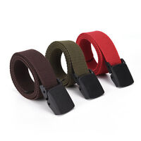 Men Women Waist Belt Waistband Casual Plain Webbing Canvas Belt Strap Belts O