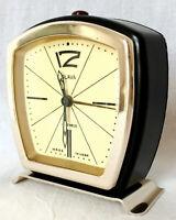 SLAVA Vintage Soviet 11 Ruby Mechanical ALARM Clock Wind-Up USSR Black Gold Trim