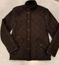 Pre-owned Men's Small - Barbour 'Powell' Quilted Leather Trim Jacket - Black