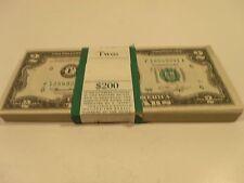 1976  $2 GREEN SEAL HIGH GRADE NOTES, LOT OF 100 - CONSECUTIVE # - UNCIRCULATED