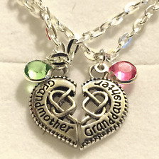 Grand mother grand daughter split heart crystal heart necklace  in gift box