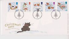 UNADDRESSED GB ROYAL MAIL FDC 2001 CHRISTMAS STAMP SET TALLENTS HOUSE PMK