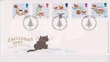No se han abordado GB Royal Mail FDC 2001 Navidad conjunto de sello tallents Casa PMK