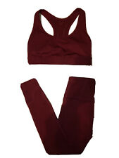 Womens Lab Joy set leggings and top size XS and M color burgandy NWT