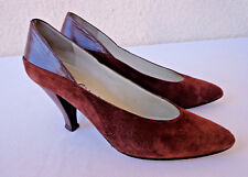 Vintage 1950s Brown Suede & Leather PUMPS Heels Shoes Giorgio Beverly Hills 8AA