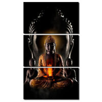 Modern Art Oil Canvas Print Painting Wall Picture 3pc Buddha Home Decor Unframed