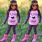 2 pièces enfant tout-petit bébé fille tenues t-shirt Hauts Léopard pantalons
