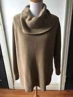 Michael Kors Women's XL Cowl Neck Brown Pullover Long Sleeve Tunic Sweater