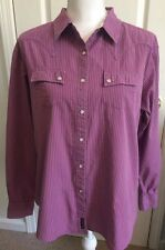Womens WRANGLER Western SHIRT Long Sleeve Size XL Purple/Pink Snap
