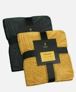 New Ochre Yellow Supersoft Leaf Embossed Throw Blanket Sofa Bed 125 cm x 150 cm
