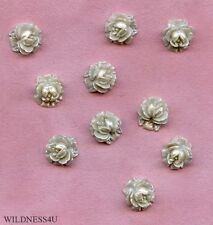 Japan Vintage ROSE FLOWERS Plastic off White PEARL cabochons CABS earrings lot