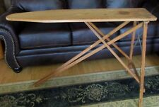 "Vintage Antique Wood Ironing Board Table 47x11.5"" Folding 96R12. Mid Century"