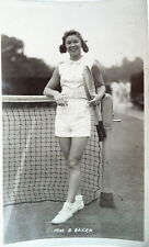 Miss B Baker-ANNI 1950 cartolina fotografica Tennis