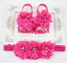 1set Baby Rose Chiffon Pearl Rhinestone Headband Foot Flower Elastic Hair Band