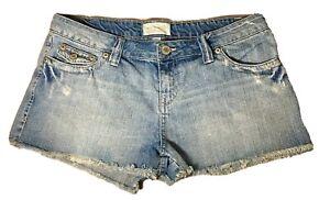 AEROPOSTALE Cut Off Shorts Destructed 100% Cotton Blue Jean Shorts Juniors 9/10