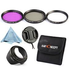 55mm UV FLD CPL Polarizing Lens Filter Kit Hood Cap For Sony Alpha DSLR Camera