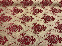 Sabrina Ruby Red Gold Damask Fabric Chenille upholstery Fabric by the yard