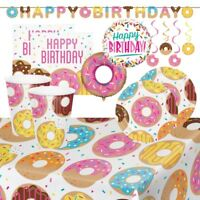 Doughnut Party Tableware & Decorations (Cups Plates Napkins Tablecover Balloons)