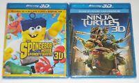 Blu-ray 3D Lot - Teenage Mutant Ninja Turtles 3D (New) Spongebob Movie 3D (New)