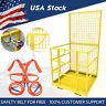 Forklift Safety Cage Lift Man Work Platform Basket Slip-On w/ Safety Harness