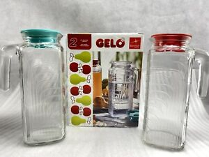 2x Bormioli Rocco Gelo,  Lid,  Glass Pitchers. 40 41 Oz. Each.