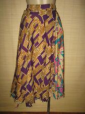 "New VINTAGE Silk sari wrap SKIRT / DRESS FREESIZE (8-16 best) 30"" Long (code57)"