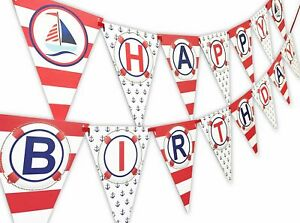 Nautical RED Happy Birthday Banner Pennant - Sailboat Party Banner - Made in