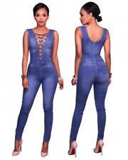 Abito tuta aderente Blue jeans Lacci Nudo Scollo Casual Denim Jumpsuit Dress S